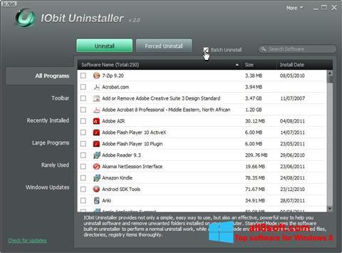 Snimak zaslona IObit Uninstaller Windows 8