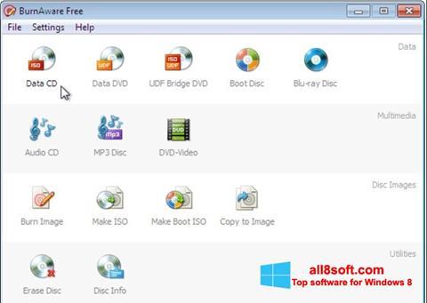 Snimak zaslona BurnAware Free Windows 8
