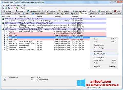 Snimak zaslona AutoRuns Windows 8