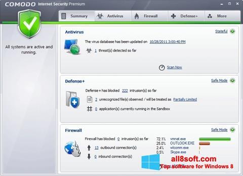 Snimak zaslona Comodo Internet Security Premium Windows 8
