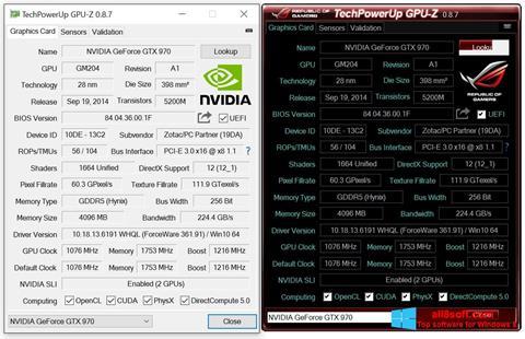 Snimak zaslona GPU-Z Windows 8