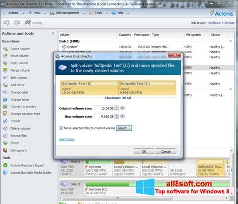Snimak zaslona Acronis Disk Director Windows 8