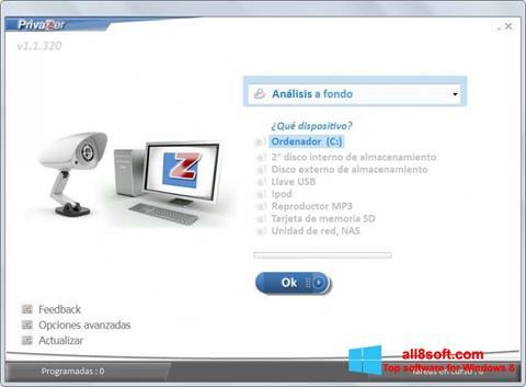 Snimak zaslona PrivaZer Windows 8