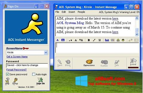 Snimak zaslona AOL Instant Messenger Windows 8