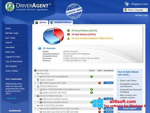 Snimak zaslona DriverAgent Windows 8