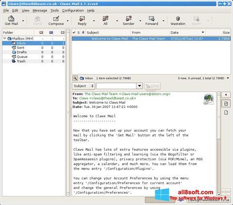 Snimak zaslona Claws Mail Windows 8
