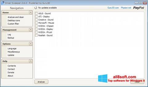 Snimak zaslona Driver Sweeper Windows 8