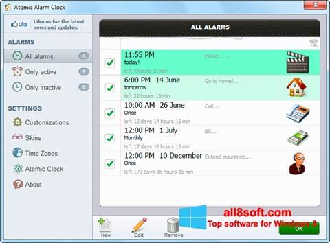 Snimak zaslona Atomic Alarm Clock Windows 8