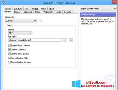 Snimak zaslona BullZip PDF Printer Windows 8