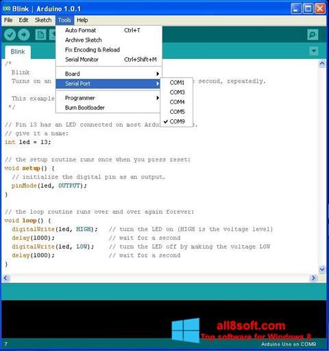 Snimak zaslona Arduino Windows 8