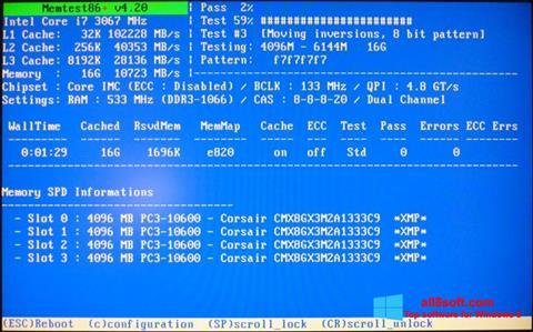 Snimak zaslona MemTest Windows 8