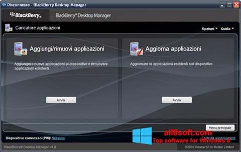 Snimak zaslona BlackBerry Desktop Manager Windows 8