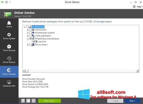 Snimak zaslona Driver Genius Windows 8