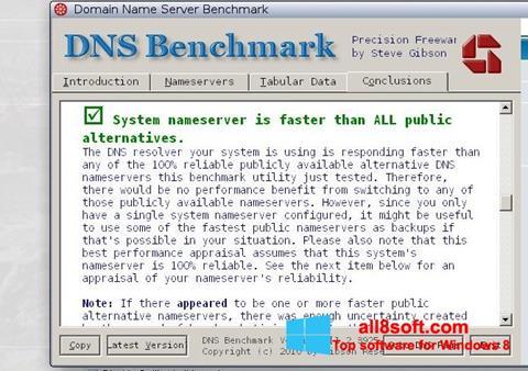 Snimak zaslona DNS Benchmark Windows 8