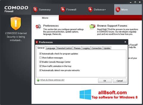 Snimak zaslona Comodo Firewall Windows 8