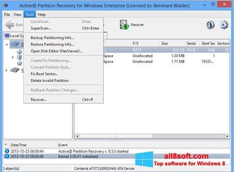 Snimak zaslona Active Partition Recovery Windows 8