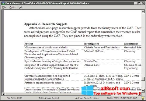 Snimak zaslona DocX Viewer Windows 8