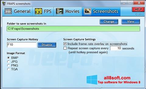 Snimak zaslona Fraps Windows 8