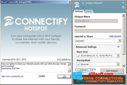 Snimak zaslona Connectify Hotspot PRO Windows 8
