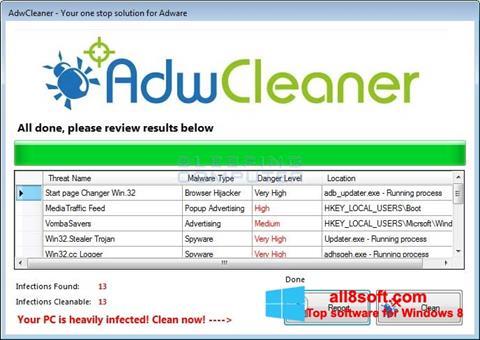 Snimak zaslona AdwCleaner Windows 8