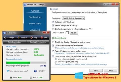 Snimak zaslona BatteryCare Windows 8