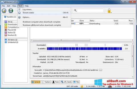Snimak zaslona qBittorrent Windows 8