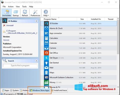 Snimak zaslona Uninstall Tool Windows 8