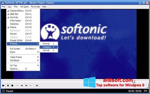 Snimak zaslona Media Player Classic Windows 8