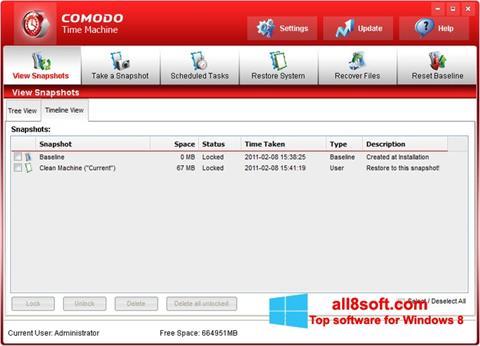 Snimak zaslona Comodo Time Machine Windows 8