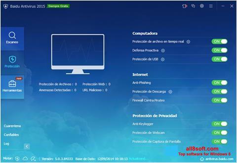 Snimak zaslona Baidu Antivirus Windows 8