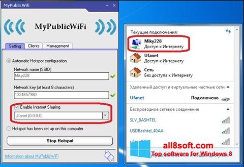 Snimak zaslona MyPublicWiFi Windows 8