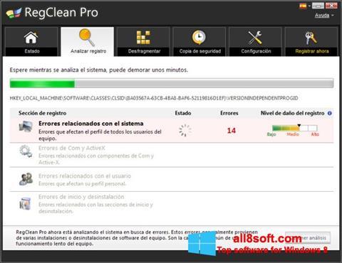 Snimak zaslona RegClean Pro Windows 8
