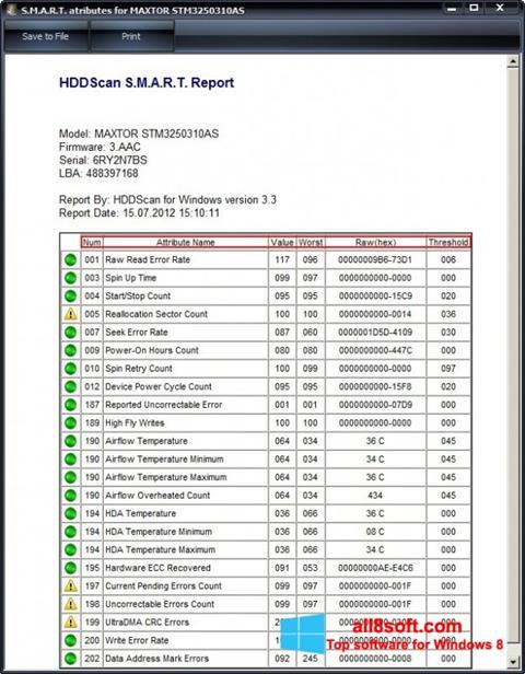 Snimak zaslona HDDScan Windows 8