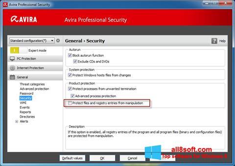 Snimak zaslona Avira Professional Security Windows 8