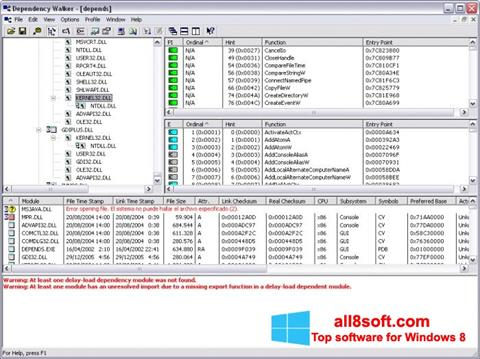Snimak zaslona Dependency Walker Windows 8