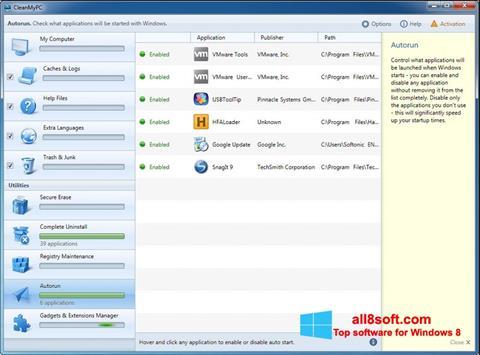 Snimak zaslona CleanMyPC Windows 8