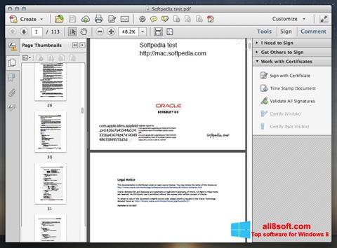 Snimak zaslona Adobe Acrobat Windows 8