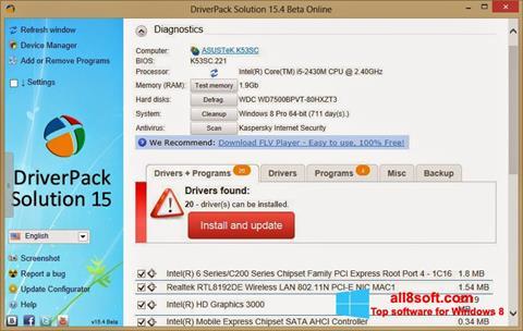 Snimak zaslona DriverPack Solution Online Windows 8