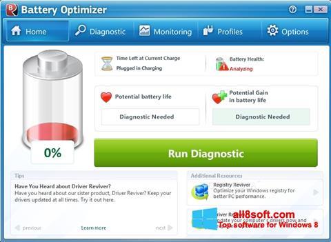 Snimak zaslona Battery Optimizer Windows 8