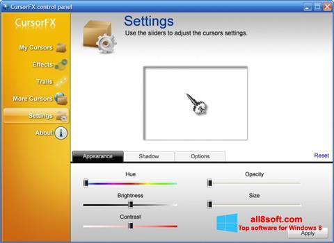 Snimak zaslona CursorFX Windows 8
