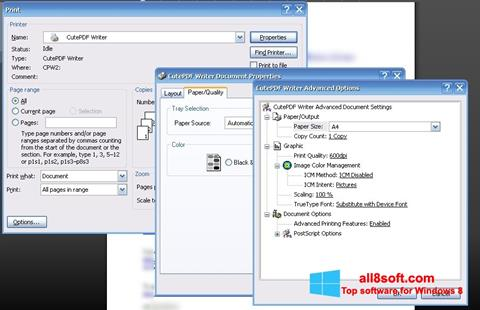 Snimak zaslona CutePDF Writer Windows 8