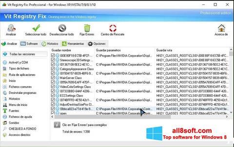 Snimak zaslona Vit Registry Fix Windows 8