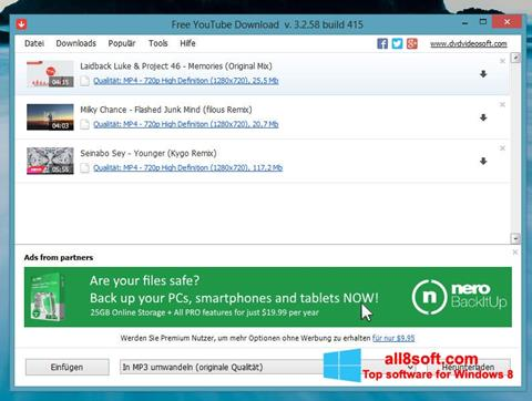 Snimak zaslona Free YouTube Download Windows 8