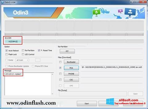 Snimak zaslona Odin Windows 8