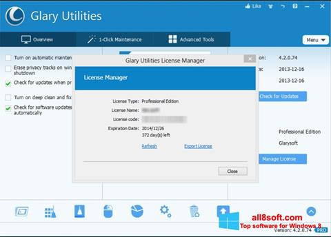 Snimak zaslona Glary Utilities Windows 8