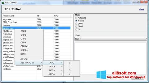 Snimak zaslona CPU-Control Windows 8
