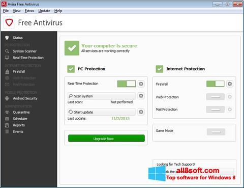 Snimak zaslona Avira Free Antivirus Windows 8