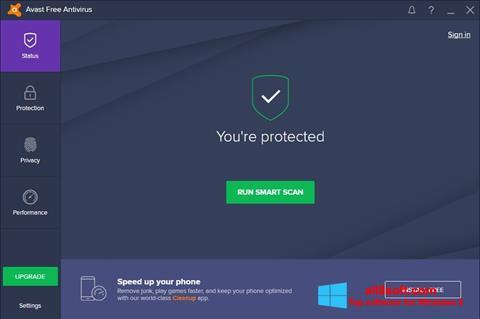 Snimak zaslona Avast Free Antivirus Windows 8