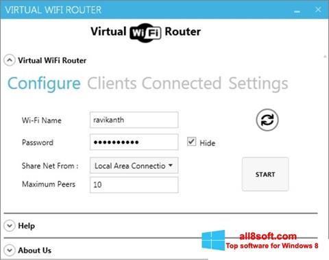 Snimak zaslona Virtual WiFi Router Windows 8
