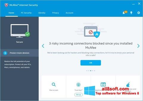 Snimak zaslona McAfee Internet Security Windows 8